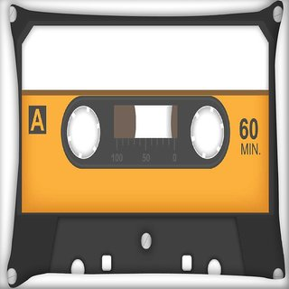 Snoogg Casette Tape Digitally Printed Cushion Cover Pillow 16 x 16 Inch