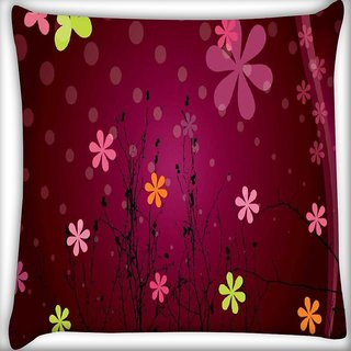 Snoogg Cute flower graphic Digitally Printed Cushion Cover Pillow 16 x 16 Inch