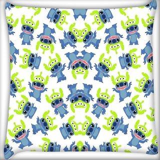 Snoogg alien blue cartoon cute Digitally Printed Cushion Cover Pillow 16 x 16 Inch