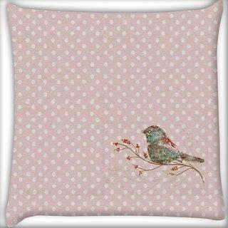Snoogg Bird Grunge Digitally Printed Cushion Cover Pillow 16 x 16 Inch