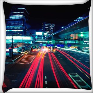 Snoogg City quick Digitally Printed Cushion Cover Pillow 16 x 16 Inch