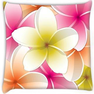 Snoogg  all purpose bright frangipani card in vector format Digitally Printed Cushion Cover Pillow 16 x 16 Inch