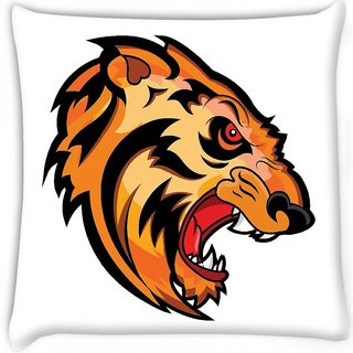 Snoogg  angry tiger face mascot vector tattoo Digitally Printed Cushion Cover Pillow 16 x 16 Inch
