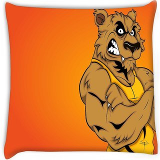 Snoogg  angry werewolf cartoon character  Digitally Printed Cushion Cover Pillow 16 x 16 Inch