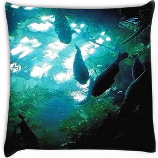 Snoogg  aquarium fishes  Digitally Printed Cushion Cover Pillow 16 x 16 Inch