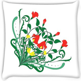 Snoogg  floral corner frame  Digitally Printed Cushion Cover Pillow 16 x 16 Inch