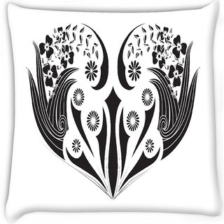 Snoogg  floral frame Digitally Printed Cushion Cover Pillow 16 x 16 Inch