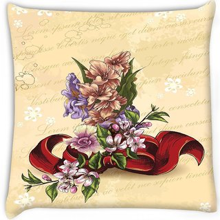 Snoogg  floral vector background illustration with bow and floral bouquet  Digitally Printed Cushion Cover Pillow 16 x 16 Inch