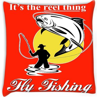 Snoogg  fly fisherman catching trout with fly reel  Digitally Printed Cushion Cover Pillow 16 x 16 Inch