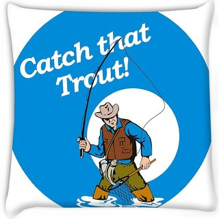 Snoogg  fly fisherman fishing catching trout fish rod reel  Digitally Printed Cushion Cover Pillow 16 x 16 Inch