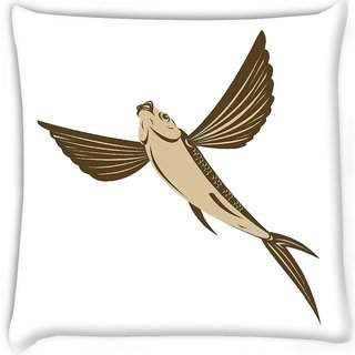 Snoogg  flying fish retro style  Digitally Printed Cushion Cover Pillow 16 x 16 Inch