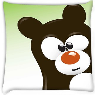 Snoogg  funny cartoon bear Digitally Printed Cushion Cover Pillow 16 x 16 Inch