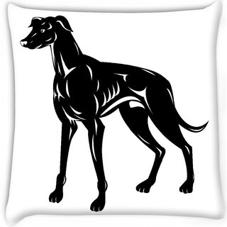 Snoogg  greyhound dog retro  Digitally Printed Cushion Cover Pillow 16 x 16 Inch