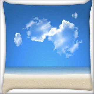Snoogg Blue Sky Digitally Printed Cushion Cover Pillow 16 x 16 Inch