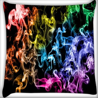 Snoogg Colorful Smoke Digitally Printed Cushion Cover Pillow 16 x 16 Inch