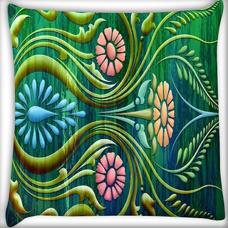 Snoogg Abstract Floral Digitally Printed Cushion Cover Pillow 16 x 16 Inch