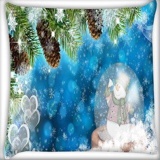 Snoogg Snowman Digitally Printed Cushion Cover Pillow 16 x 16 Inch