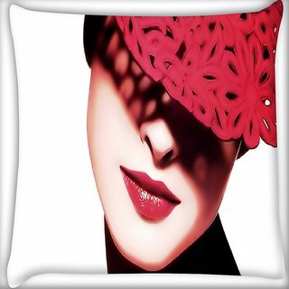 Snoogg Lady In Red Digitally Printed Cushion Cover Pillow 16 x 16 Inch