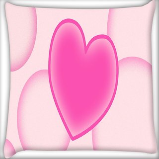 Snoogg Pink Heart Digitally Printed Cushion Cover Pillow 16 x 16 Inch