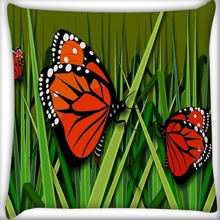 Snoogg Butterflies Digitally Printed Cushion Cover Pillow 16 x 16 Inch
