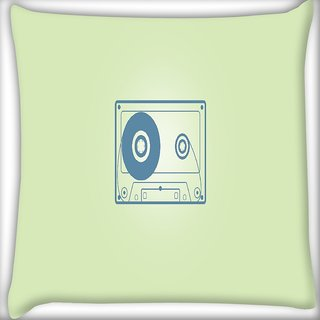 Snoogg Cassette Minimalistic Digitally Printed Cushion Cover Pillow 16 x 16 Inch