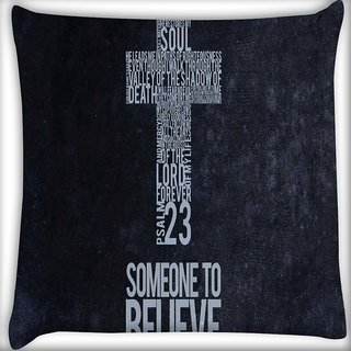 Snoogg Christian Wallpapers Digitally Printed Cushion Cover Pillow 16 x 16 Inch