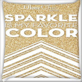 Snoogg Sparkle Is My Favorite Color Digitally Printed Cushion Cover Pillow 16 x 16 Inch