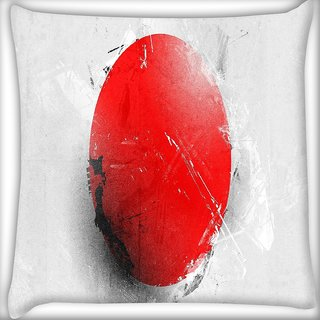 Snoogg Red Spot Japan Flag Digitally Printed Cushion Cover Pillow 16 x 16 Inch
