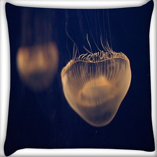 Snoogg Jellyfish Animal Digitally Printed Cushion Cover Pillow 16 x 16 Inch