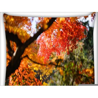 Snoogg Red Leaves Tree Digitally Printed Cushion Cover Pillow 16 x 16 Inch
