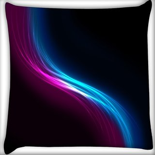 Snoogg Pink And Blue Layer Digitally Printed Cushion Cover Pillow 16 x 16 Inch
