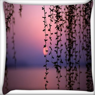 Snoogg Sunset Vines Digitally Printed Cushion Cover Pillow 16 x 16 Inch