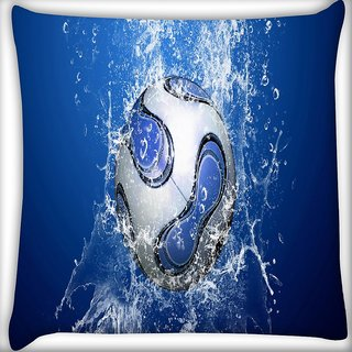 Snoogg Lets Football Digitally Printed Cushion Cover Pillow 16 x 16 Inch