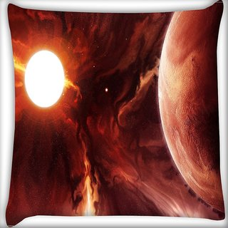 Snoogg Solar Eclipse Digitally Printed Cushion Cover Pillow 16 x 16 Inch