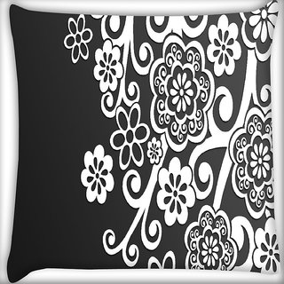 Snoogg White Floral Pattern Digitally Printed Cushion Cover Pillow 16 x 16 Inch