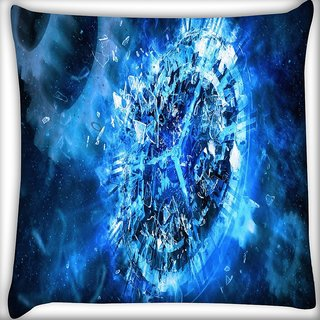 Snoogg Blue Clock Abstract Digitally Printed Cushion Cover Pillow 16 x 16 Inch