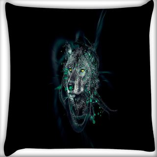 Snoogg Dark Wolf Digitally Printed Cushion Cover Pillow 16 x 16 Inch