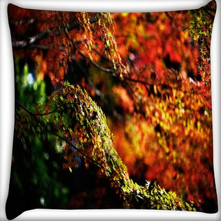 Snoogg Gardened Leaves Digitally Printed Cushion Cover Pillow 16 x 16 Inch