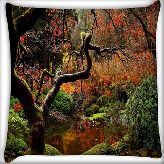 Snoogg Pound In Garden Digitally Printed Cushion Cover Pillow 16 x 16 Inch