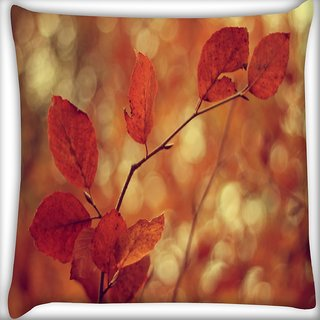 Snoogg Orange Leaf In Branch Digitally Printed Cushion Cover Pillow 16 x 16 Inch