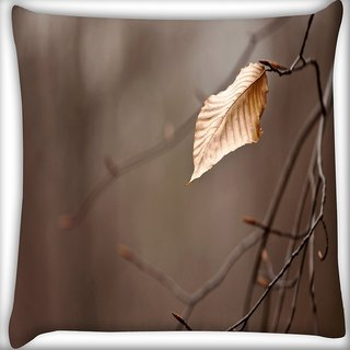 Snoogg Dying Leaf Digitally Printed Cushion Cover Pillow 16 x 16 Inch