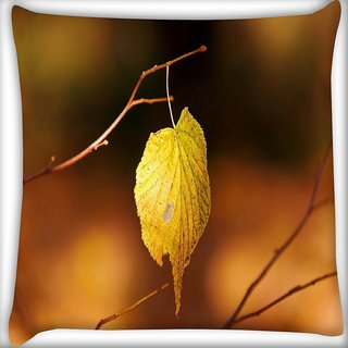 Snoogg Single Leaf In Tree Digitally Printed Cushion Cover Pillow 16 x 16 Inch