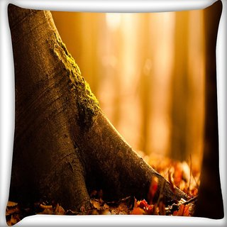 Snoogg Fallen Leaf Digitally Printed Cushion Cover Pillow 16 x 16 Inch