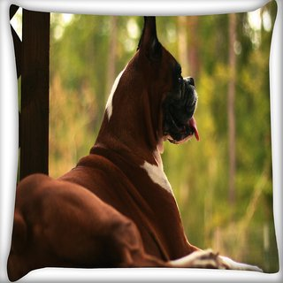 Snoogg Dog Sitting Digitally Printed Cushion Cover Pillow 16 x 16 Inch