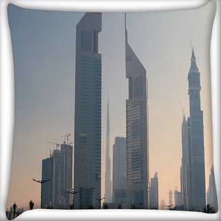 Snoogg Tall Buildings Digitally Printed Cushion Cover Pillow 16 x 16 Inch