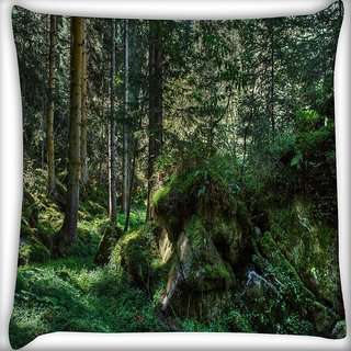 Snoogg Green Rocks Digitally Printed Cushion Cover Pillow 16 x 16 Inch