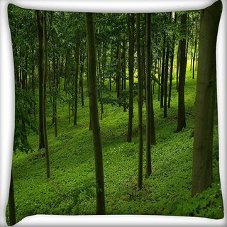 Snoogg Green Forest Digitally Printed Cushion Cover Pillow 16 x 16 Inch