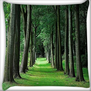 Snoogg Walking Way In Forest Digitally Printed Cushion Cover Pillow 16 x 16 Inch