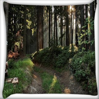 Snoogg No Way In Forest Digitally Printed Cushion Cover Pillow 16 x 16 Inch