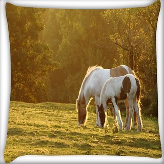 Snoogg Colorful White Horse Digitally Printed Cushion Cover Pillow 16 x 16 Inch